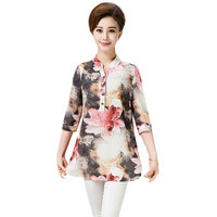 Middle Aged Women Blouse 2017 Summer Print Chiffon Blouse Plus Size 3 4 Sleeve Casual Shirt