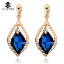 DLSHTMB Brand Vintage Crystal Blue Stone Earring Water Drop Fashion Big Long Earrings For Women's Gift Dangle Earrings Hanging