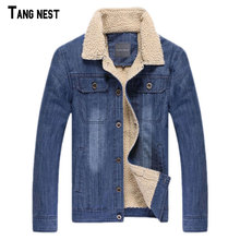 TANGNEST Men Jacket&Coats Brand Clothing Denim jacket Fashion Mens jeans Jacket Thick Warm Winter Male Cowboy MWJ2352