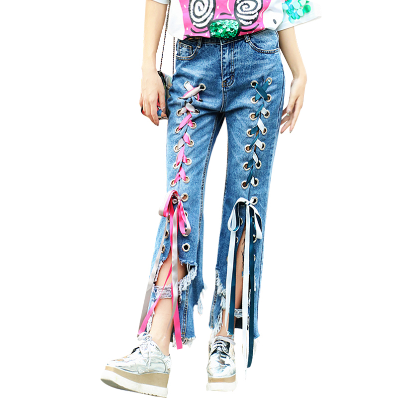 2017 Spring and summer women irregular hole Denim pants fashion high waist lace up panelled loose vintage ripped Ladies jeans new summer vintage women ripped hole jeans high waist floral embroidery loose fashion ankle length women denim jeans harem pants