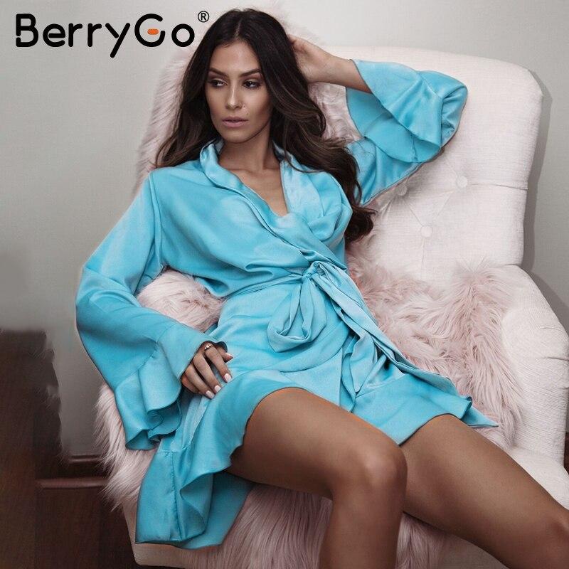 BerryGo Elegant ruffle v neck satin dress robe femme Irregularity sashes flare sleeve autumn dress party Vintage dress winter