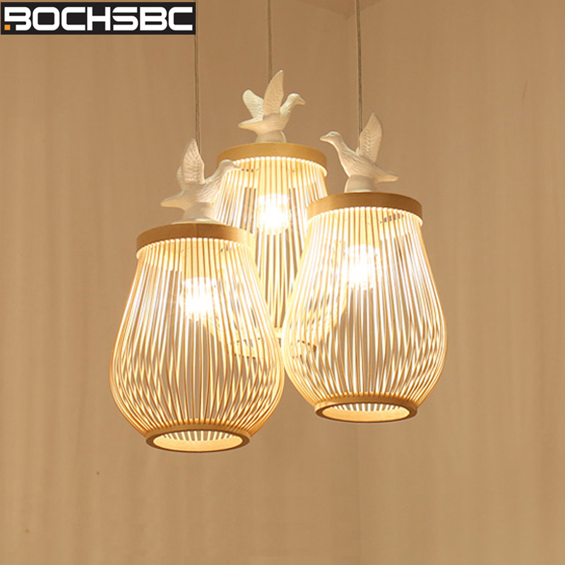 BOCHSBC Wicker-knitted Lampshade Pendent Light New Chinese Simple Creative Bamboo-art Handing Lamp for Living Room Dining RoomBOCHSBC Wicker-knitted Lampshade Pendent Light New Chinese Simple Creative Bamboo-art Handing Lamp for Living Room Dining Room