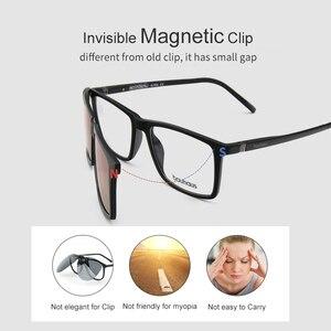 Image 4 - 3174 Magnet Sunglasses Clip Mirrored Clip on Magnetic Sunglasses Clip on Glasses Men Polarized Clip Custom Prescription Myopia