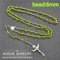 2pcs Religious Rosary platic transparent olivine color Beads Fashion Necklaces  Free Shipping