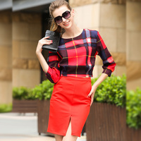 2015 High Quality Autumn Fashion Women Business Suits Formal Office Suits Work Plaid Slim Top Slit