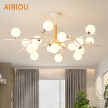 AIBIOU Modern Nordic Chandeliers With Glass Ball For Living Room Dining Table Chandelier  Indoor White Hanging Light Fixtures