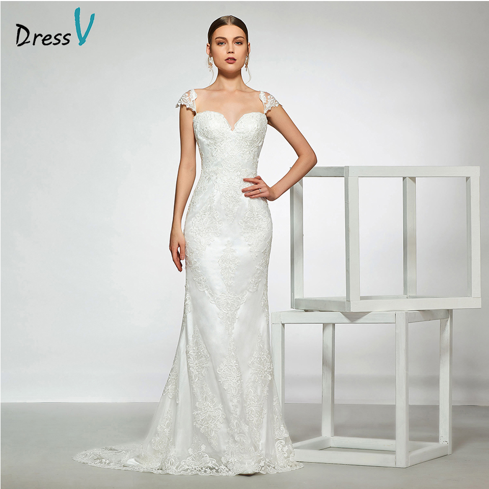 Dressv elegant sample sweetheart neck appliques mermaid wedding dress sleeveless floor length simple bridal gowns wedding dress