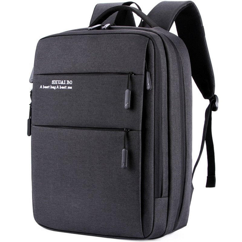 Men business backpacks ultra Large capacity Students schoolbags laptop Travel bags Multipurpose USB Oxford Pockets headphone bag in Backpacks from Luggage Bags