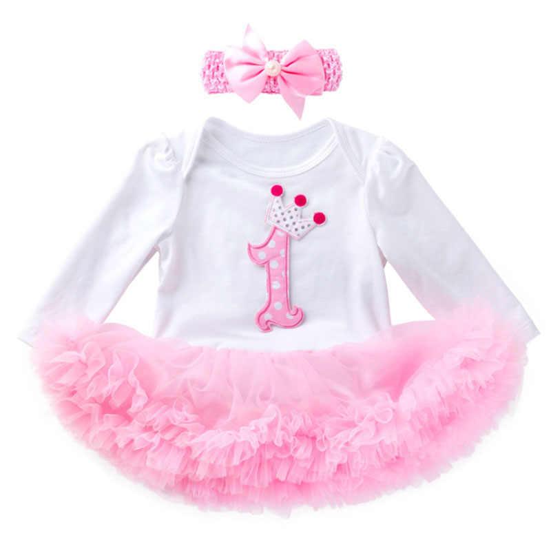 1 שנה ילדה תינוק יום הולדת שמלת חג שמלות עבור תינוק בנות יילוד טול טוטו שמלה ארוך שרוול תחרה תלבושות סרט 2pcs