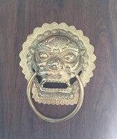 Аутентичные! Китайские антикварные copperhandle Shoutou дверной молоток кольцо МЕДИ дверные ручки 19 см львиная голова молоток