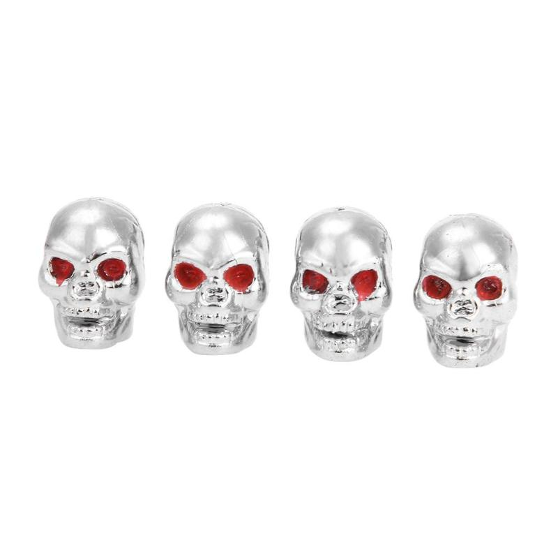 4pcs Metal Skull Shape Car Auto Wheel Tyre Tire Valve Stem Caps Dust Covers