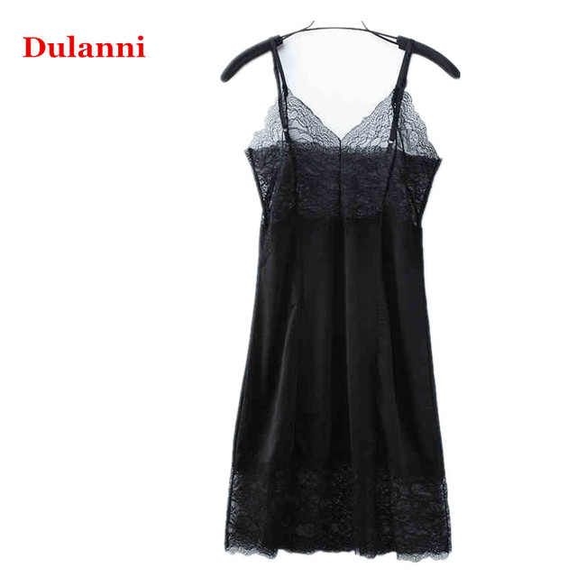 Female ultra long one-piece dress suspender slim sexy slip lace decoration hollow out basic milk silk underskirt