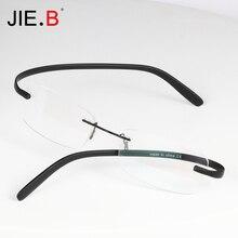Titanium Glasses Frame Men Semi Rimless Prescription Eyeglasses Women Myopia Optical FramesTR90 Eyewear