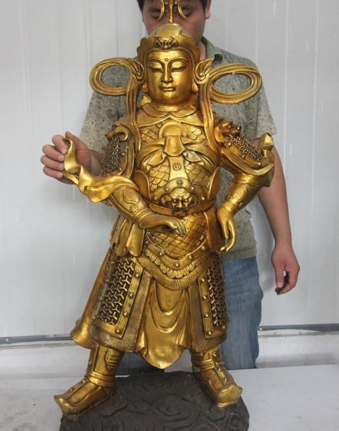 Chinese bronze copper FengShui Warrior King Veda WeiTuo door-god buddha Statue