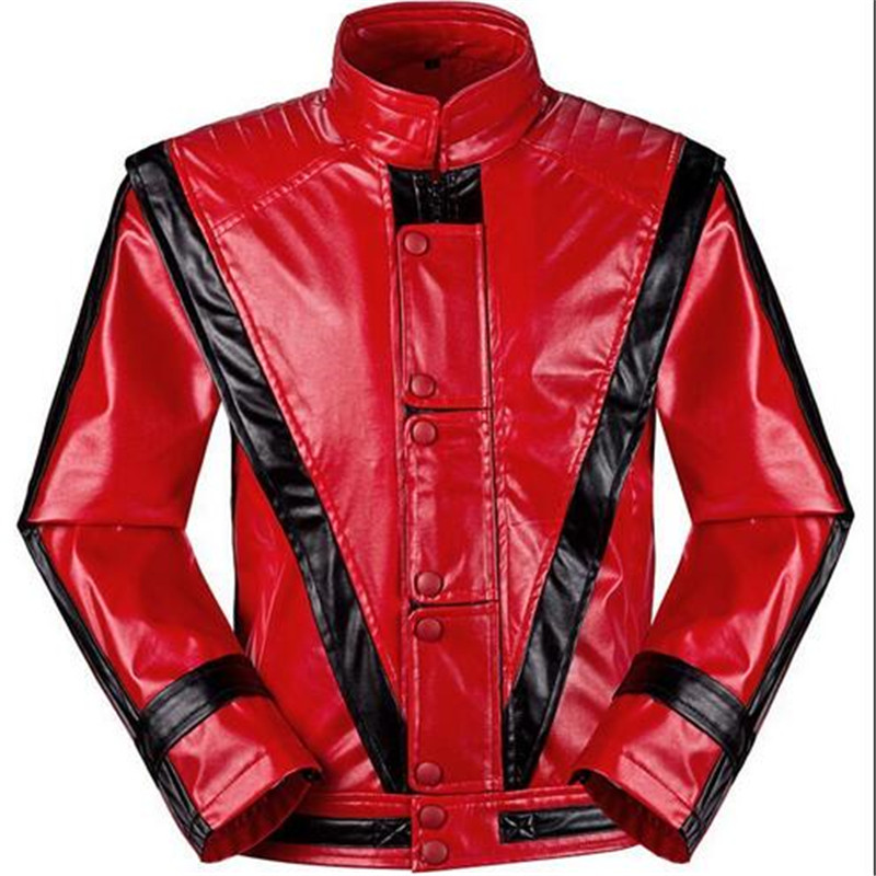 d6bc38dcc US $69.99  MJ Michael Jackson Jackets Thriller Jacket Children Kids Coats  Costumes Red Patchwork XXS 4XL PU Outwear-in Jackets from Men's Clothing on  ...