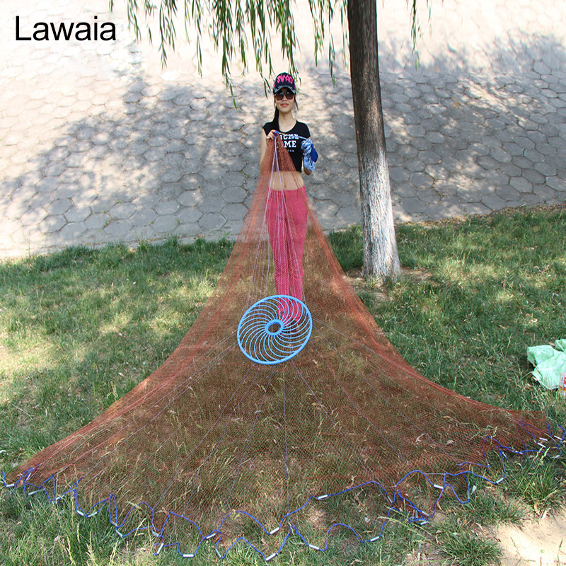 Lawaia Fishing Nets Hand Throw Casting Network with Flying Disc Diameter 2.4-7.2m Have Sinkers Fly Fish NetLawaia Fishing Nets Hand Throw Casting Network with Flying Disc Diameter 2.4-7.2m Have Sinkers Fly Fish Net