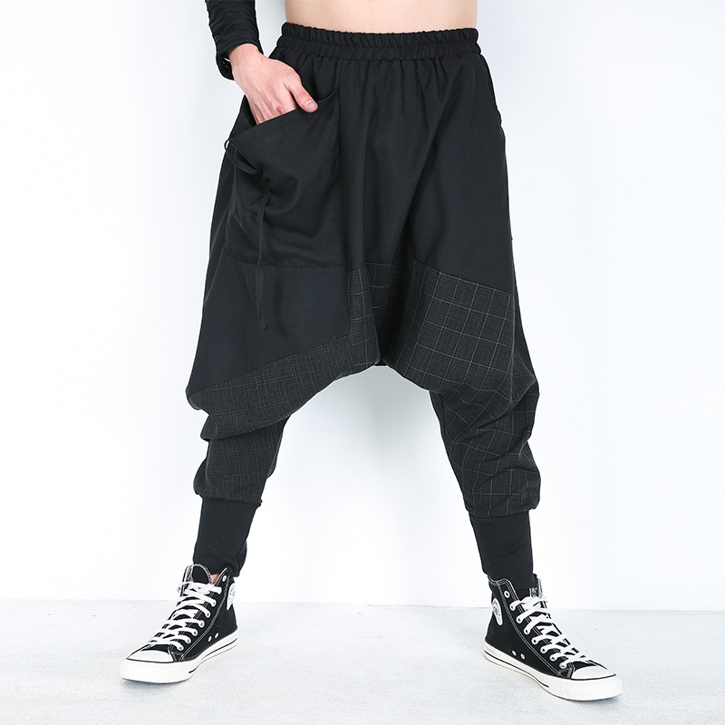 Baggy Harem Pants Men Pants Elastic Waist Fashion Plaid Patchwork Mens Sweat Pants Hip hop Trousers Men Sweatpants Streetwear