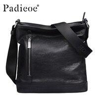 Padieoe New Arrival Luxury Genuine Cow Leather Men Handbag Business Man Fashion Messenger Bag Durable Shoulder