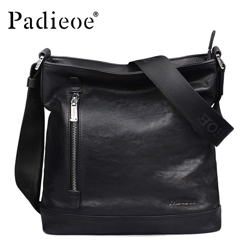 Padieoe Luxury Genuine Cow Leather Men Messenger Bag Durable Business Man Crossbody Bag Fashion High Quality New Arrival Handbag