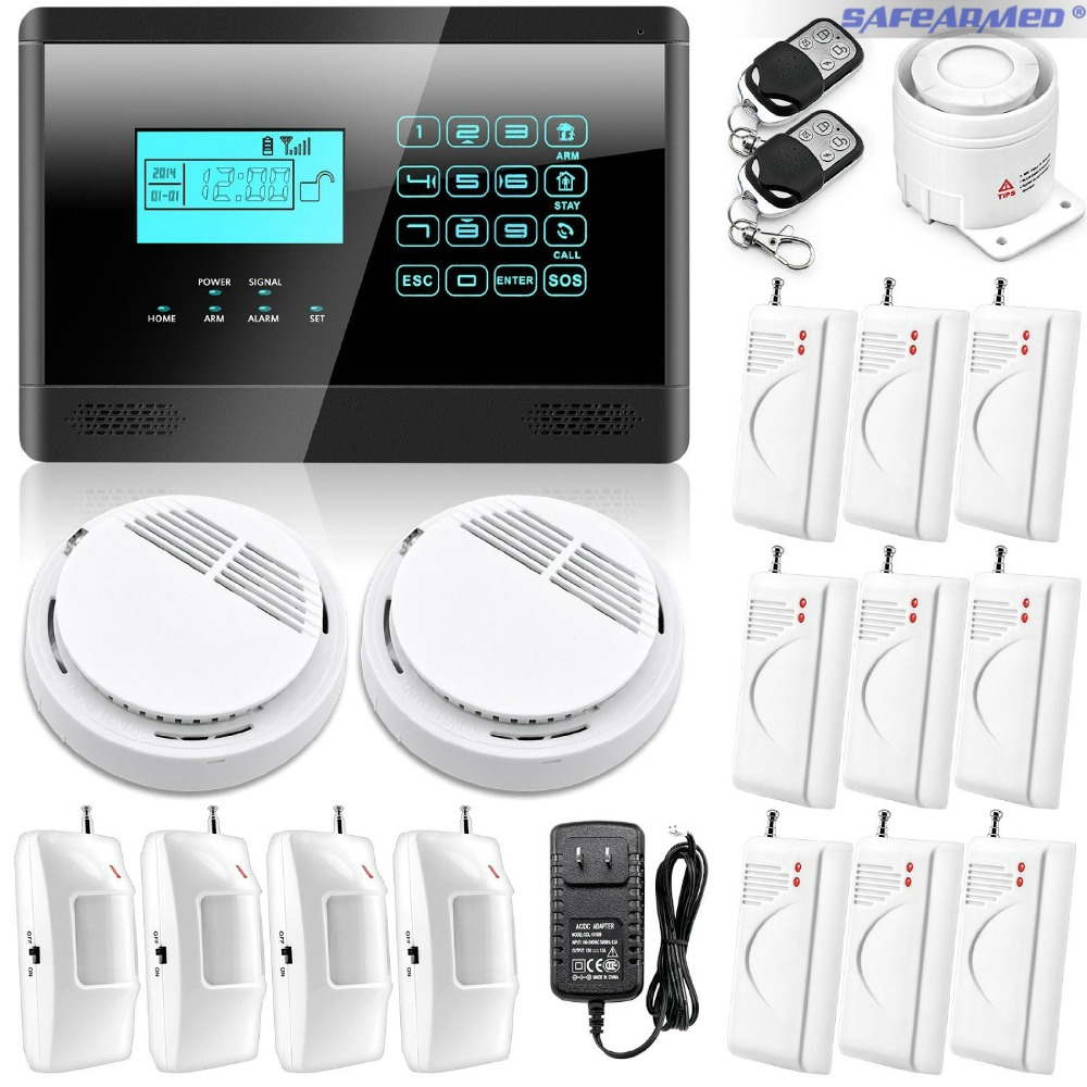 Safearmed Touch Keypad Wireless GSM SMS Autodial Smart Office Home Security Burglar Alarm System + Smoke Sensor LCD Display wireless smoke fire detector for wireless for touch keypad panel wifi gsm home security burglar voice alarm system