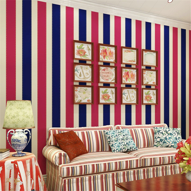 Beibehang Papier Peint Salon Chambre Fond Mur Style Britannique Rouge Et  Blanc Bleu Rayures Verticales Chaud