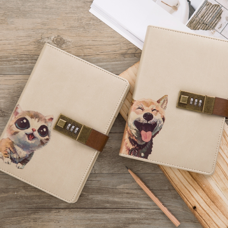 Password Leather Notebook Creative Cute Cartoon Animal Diary Notebooks Kawaii School Supplies Stationery Office Notepad Gift 1pc creative cute cartoon animal planner notebook diary book wooden school supplies student gift