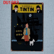 Tintin Cartoon Tin Signs  Metal Plate Wall Pub Kids Room Home Art Party Decor Vintage Iron Poster Cuadros DU-1083