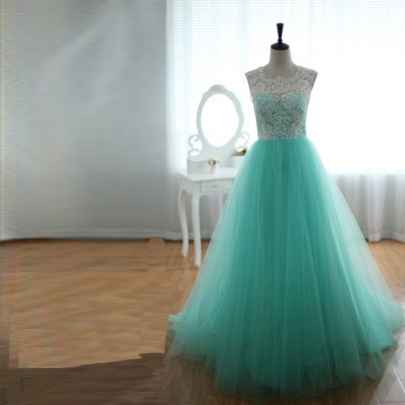 BEPEITHY Vintage Teal Tull Lace A-line Floor Length Elegant Women Prom Dresses 2018 Prom Bridesmaid Dresses