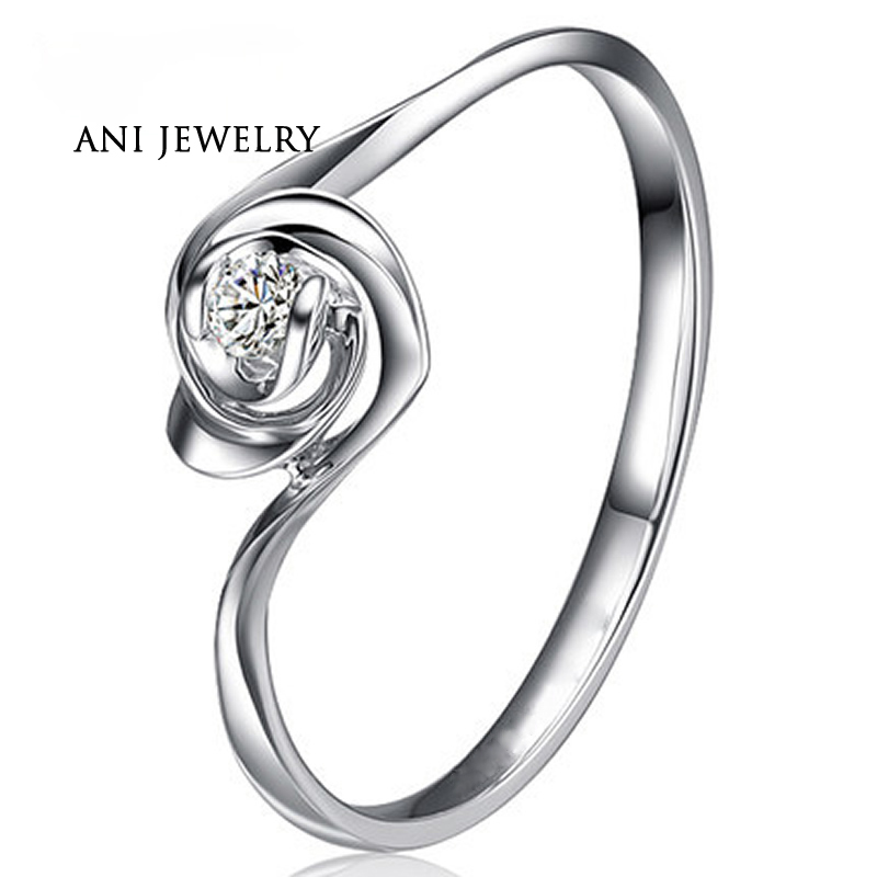 ANI 18K White/Rose/Yellow Gold (AU750) Women Wedding Ring 0.1 CT Certified SI Solitaire Round Diamond Twist Rose Shape anillo new pure au750 rose gold love ring lucky cute letter ring 1 13 1 23g hot sale