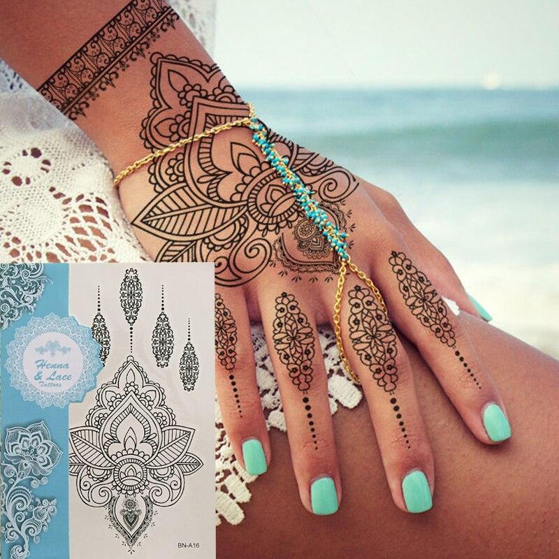 1pcs Waterproof Tattoo Women Black Ink Henna Jewel Sexy Lace Flower Pendant Wed Henna Temporary Tattoo Sticker
