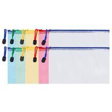 10 Pieces Zipper File Pouch Grid Document Bag Multipurpose Storage Pouch Bags for Offices Supplies Travel Accessories, 5 Colors