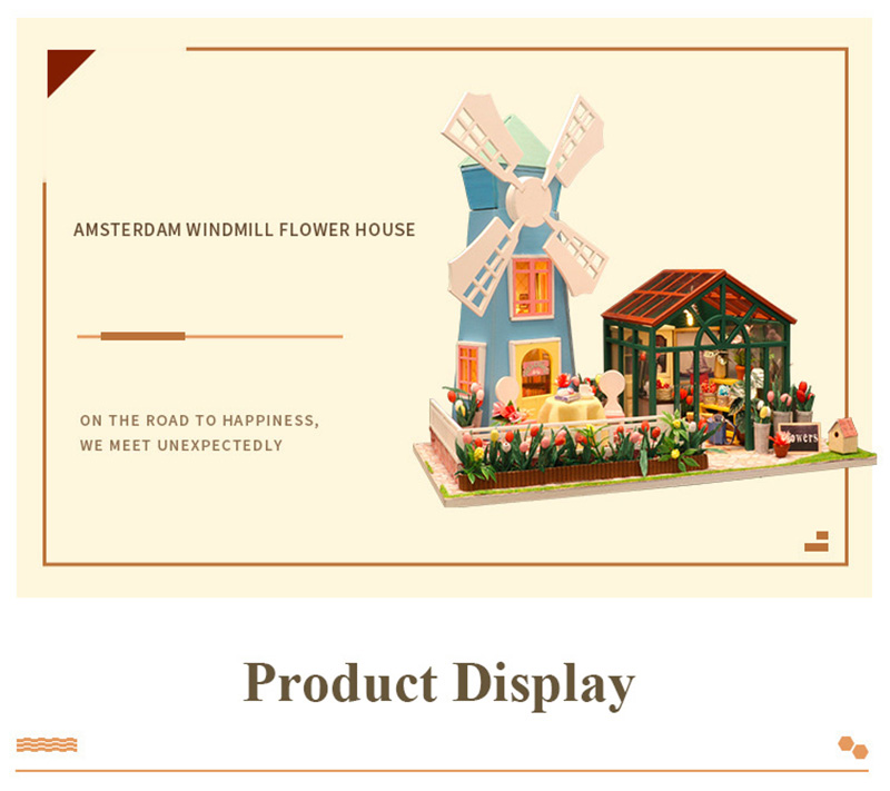 DIY Wooden Miniature Doll House for Children Adult Windmill Flower House with Furnitures Model Building Kits Dollhouse Toys (1)