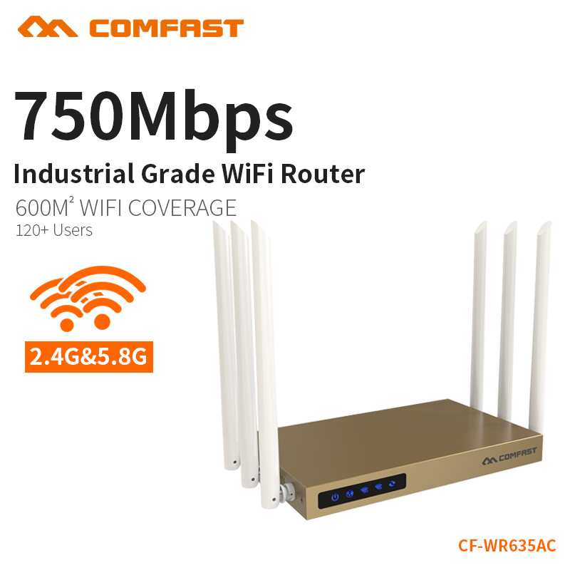 COMFAST 750Mbps 802.11ac Dual Band wireless ac wifi router 6*6dBi antenna COMFAST CF-WR635AC 500mW 128MB high power wi fi router comfast full gigabit core gateway ac gateway controller mt7621 wifi project manager with 4 1000mbps wan lan port 880mhz cf ac200