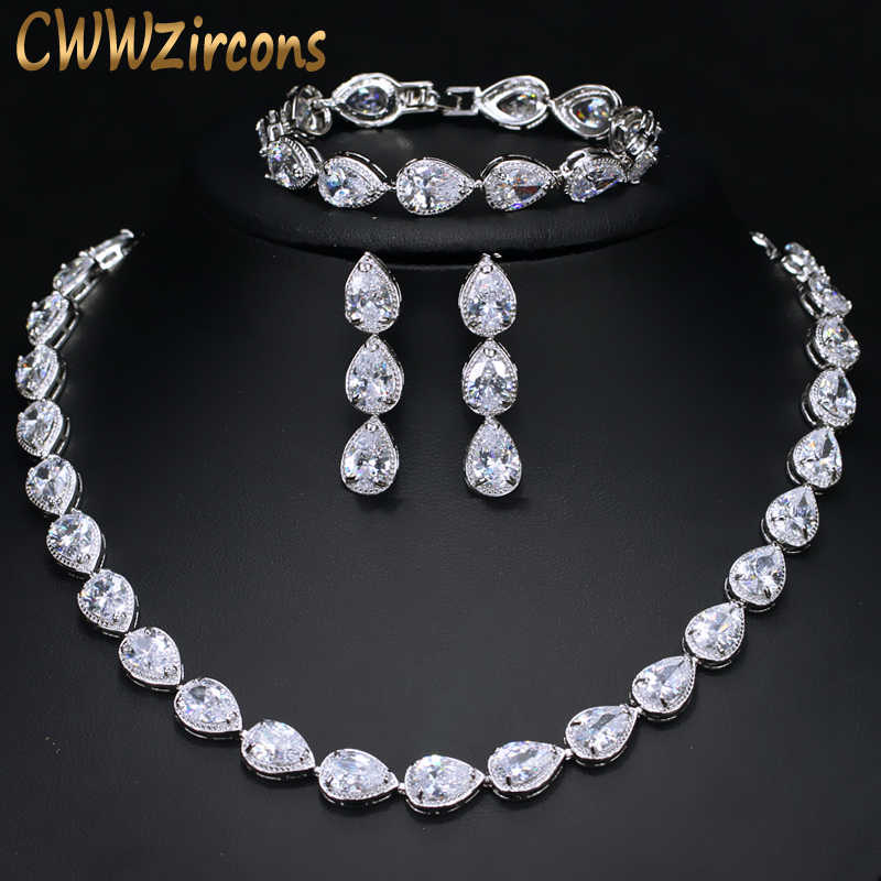 CWWZircons High Quality 3 Piece African Indian Bridal Wedding Costume Jewellery For Women Luxury Zirconia Jewelry Sets T134