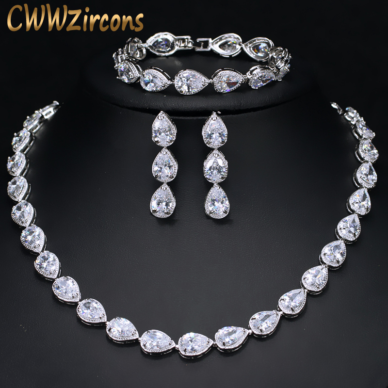 CWWZircons High Quality 3 Piece African Indian Bridal Wedding Costume Jewellery