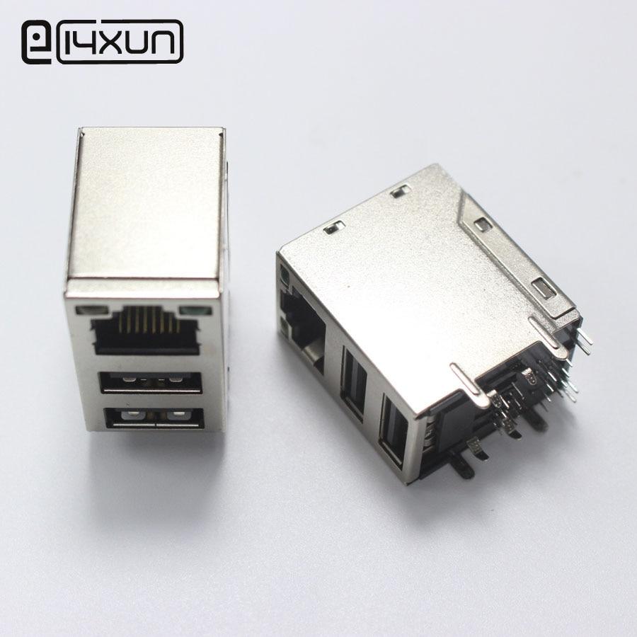 1pcs RJ45 USB Connectors USB//RJ45 COMBO Usb+2 Led RJ45 Jack
