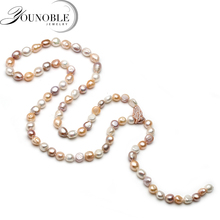 Cultured freshwater women long necklace strand jewelry,baroque pearl pendant wedding trendy gift in box 850mm