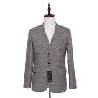New Men Suit Jacket Plaid Wool Fabrics Herringbone Fashion Wedding Tuxedo Coat Designer Slim Fit Blazer Jackets 1 Piece CUSTOM