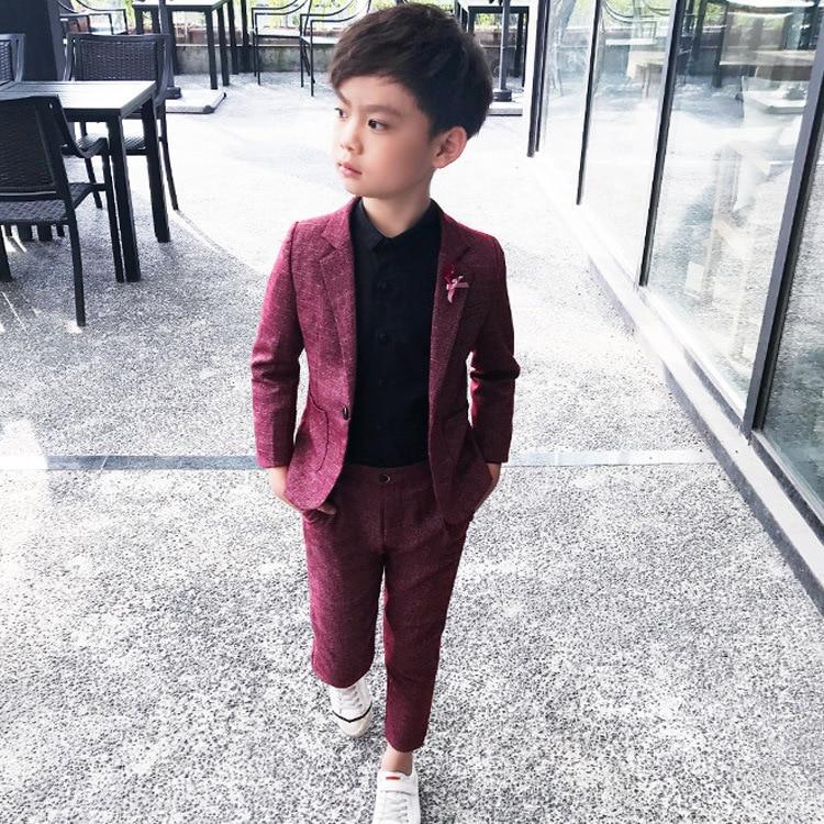 Boys 39 Suit 2pcs set Coat Pant Kids Costume Boys Suits for Weddings Baby Suit Gentleman Blazers for Boys Kinder Pakken 3 10Y in Clothing Sets from Mother amp Kids