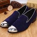Bella Christia Hombres Zapatos Mocasines Pisos Diseñador de Moda Púrpura del Ante de Los Hombres Holgazanes Del Vestido Del Partido de La Boda Zapatillas Fumadores Masculinos