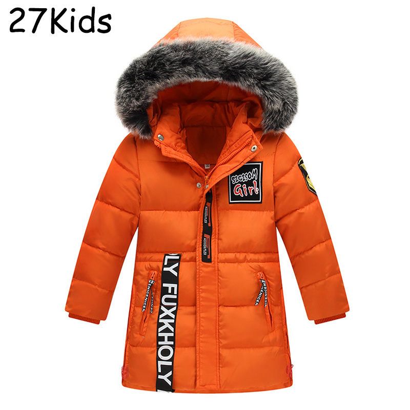 New Thick Down Jacket Boy 90% White Duck Winter Outwear Coat Fur Collar Hooded Down Parka Thicken Coats Jackets For -35 Degrees 100% white duck down women coat fashion solid hooded fox fur detachable collar winter coats elegant long down coats
