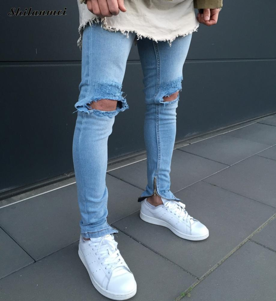 2017 New blue Side Zipper Ripped Jeans Men With Holes Denim Super Skinny Famous Designer Slim Fit Scratched Biker Jeans Pants hot 2017 blue ripped jeans men with holes cowboy super skinny famous designer brand slim fit destroyed torn jean pants for male