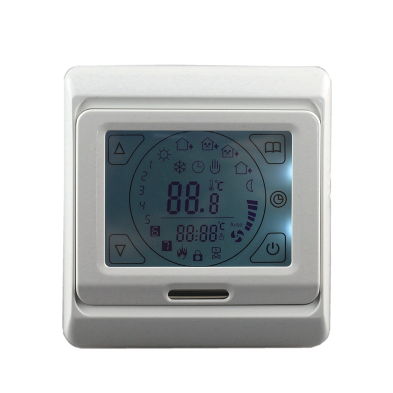Digital LCD Floor Heating Thermostat 16A Touch Screen Programmable Room Warm Temperature Controller Blue Backlight 2017 ac 110v 230v 160db motor driven air raid siren metal horn industry boat alarm ms 590
