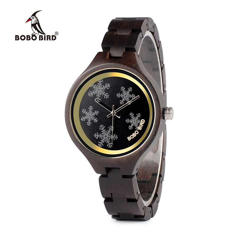 BOBO BIRD Luxury Ladies Watch Natural Black Wood High Quality Wrist Watches with Snowflake as Gift