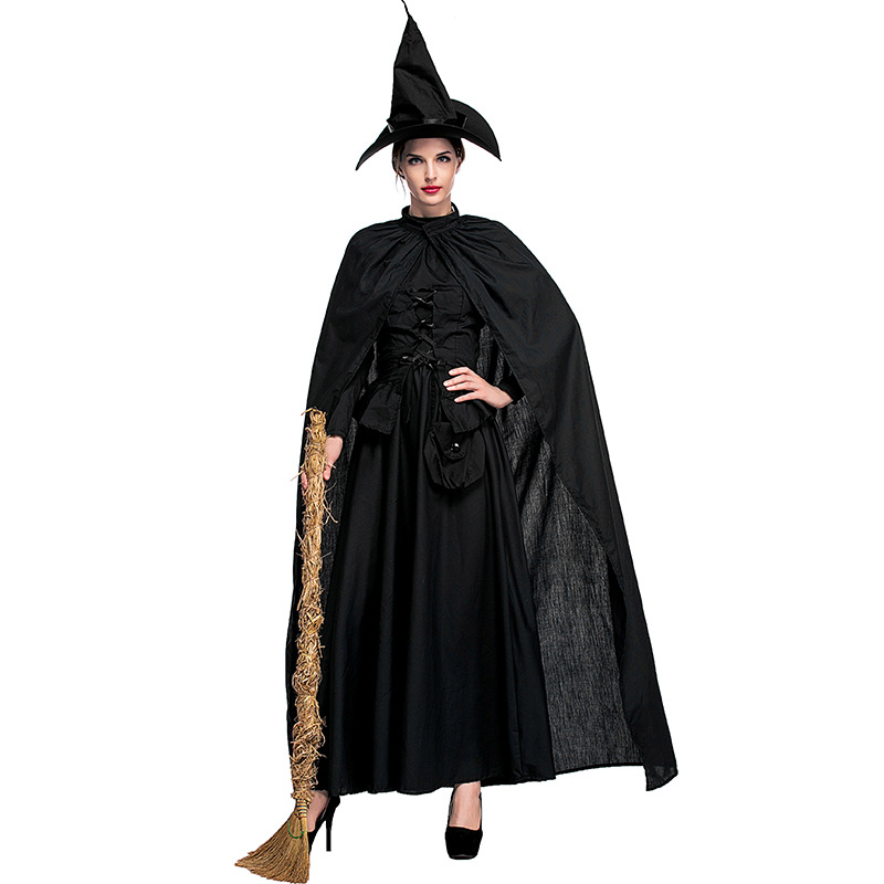 Umorden Women's Wicked Witch Costume Adult Black Long Sleeve Corset Style Dress Halloween Witches Costumes Cosplay