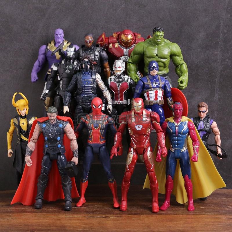 Avengers 3 Infinity War Thanos Iron Man Captain America Vision Thor Loki Hulkbuster Spiderman PVC Figures