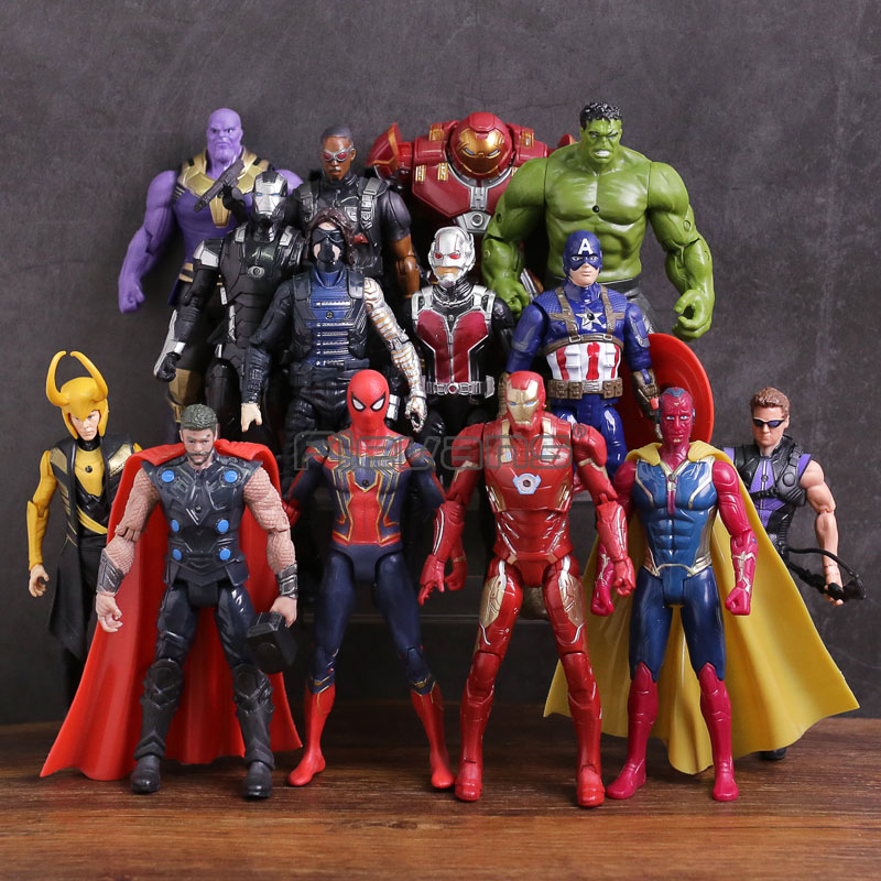Avengers 3 Infinity Guerra Thanos Iron Man Capitan America Visione Thor Loki Hulkbuster Spiderman PVC Figure Giocattoli 14 pz/set
