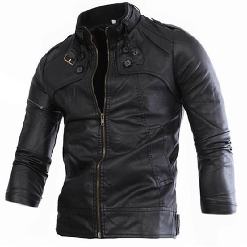 2017 Hot Sale Fashion Mens Leather Jacket Mens Casual quality brand motorcycle leather jackets men