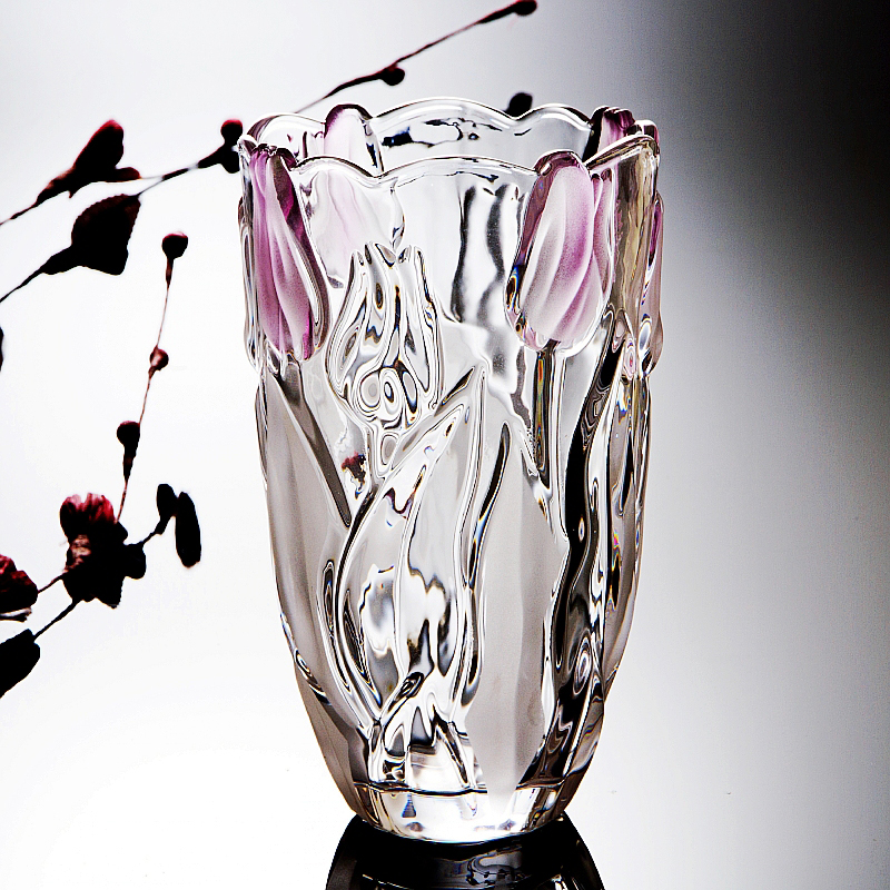 Europe Crystal glass vase high quality Tulip pattern Tabletop Vase Hydroponics terrarium home Dried flower plant vase