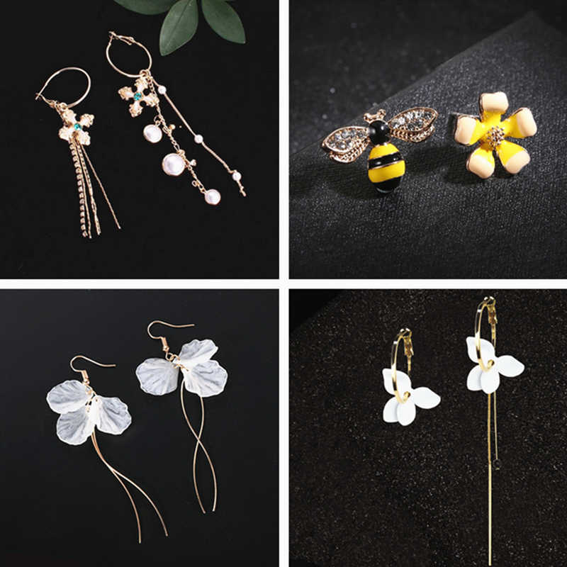 韓国レトロ非対称蝶模造真珠のイヤリングファッションラウンド花 Brincos ロングステートメント羽イヤリングジュエリー